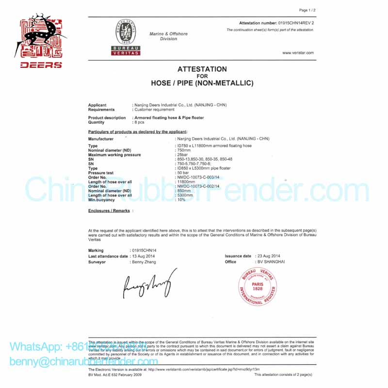 BV report, pipe floats, ID750 armored floating hose